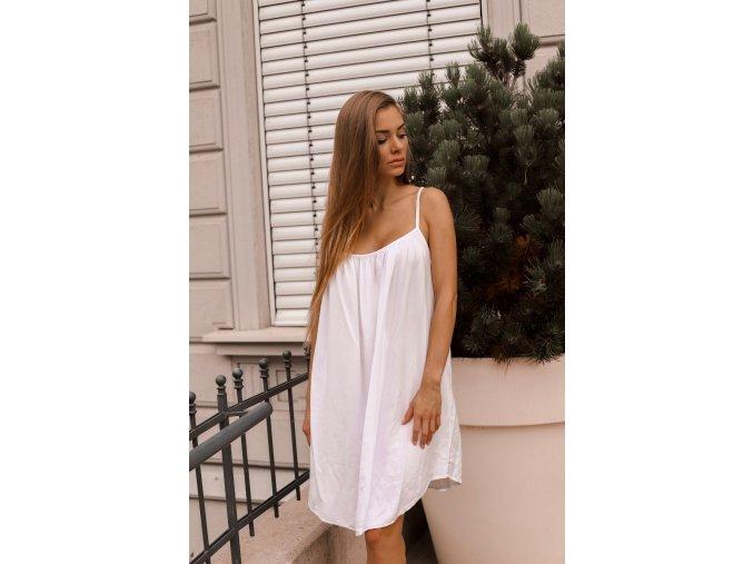 Voľné šaty s odhaleným chrbtom - biela