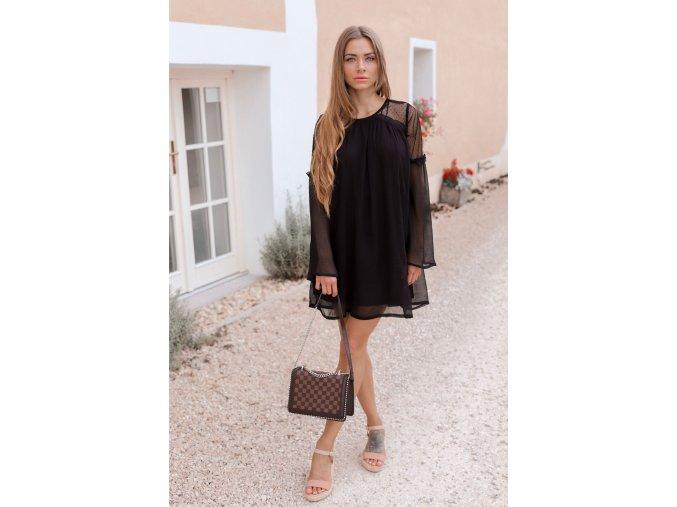Koktejlové šaty s dlhým rukávom v čiernej