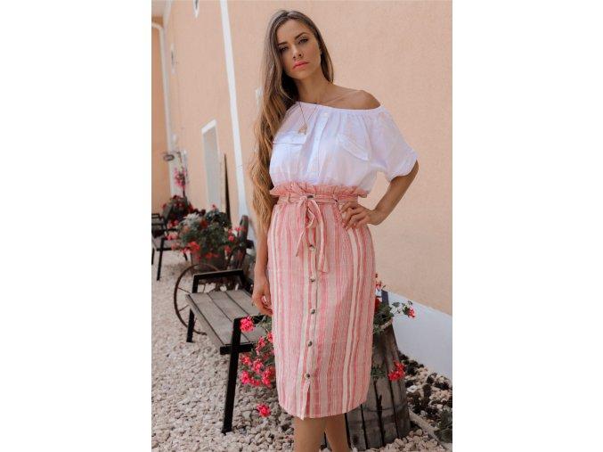 Bielo-ružová bavlnená sukňa