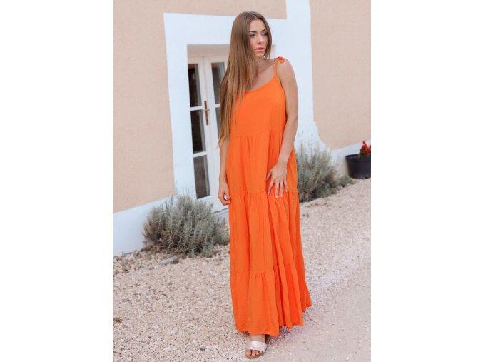 Oranžové maxi šaty