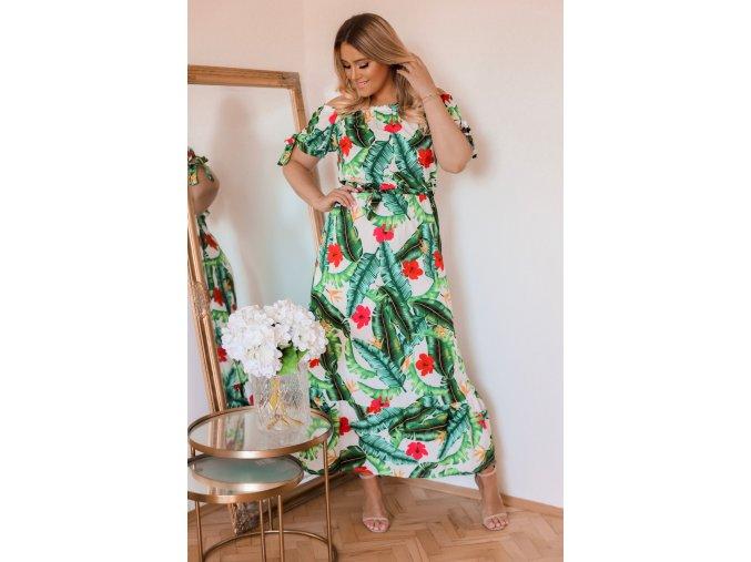Maxi šaty so vzorom palmových listov a kvetov