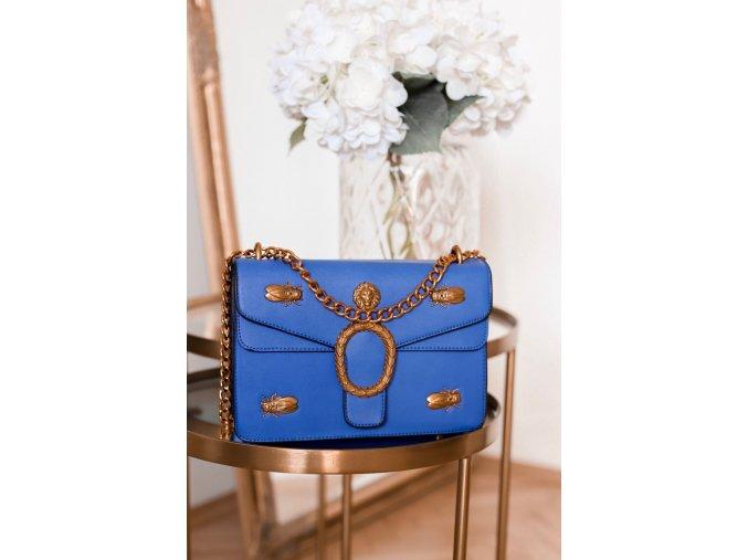 Trendy modro-zlatá kabelka