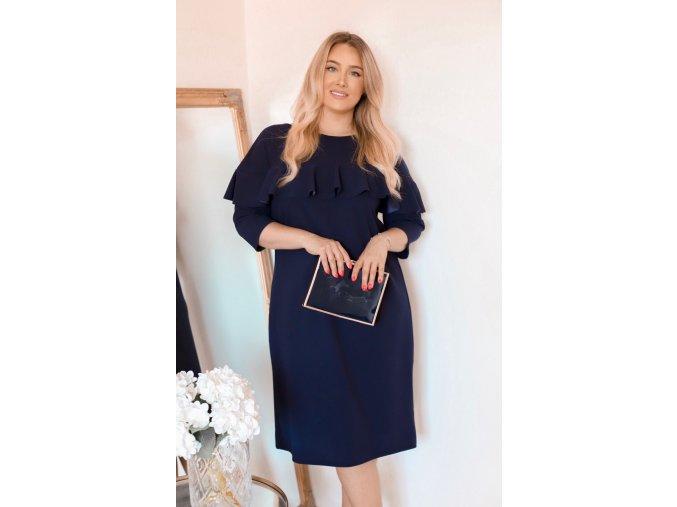 Tmavo-modré šaty s volánom