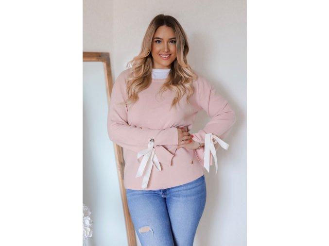 Broskyňový sveter mašľami na rukávoch