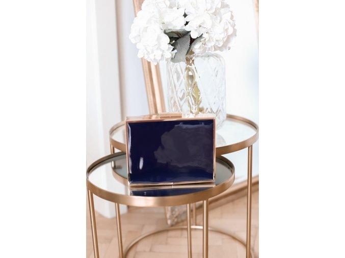 Tmavo-modrá kabelka so zlatým lemom