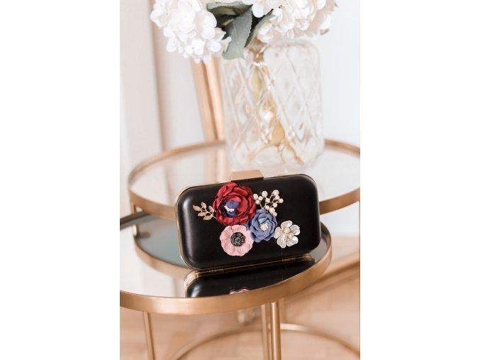 Čierna clutch kabelka s kvetinami