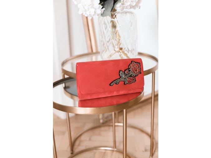 Červená listová kabelka Rose