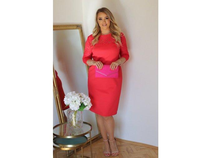 Ružové šaty s čipkovaným vrchom