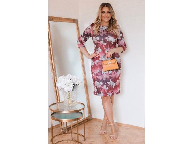 Bordové kvetinové šaty