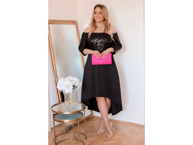 Čierne asymetrické šaty s trblietavým topom