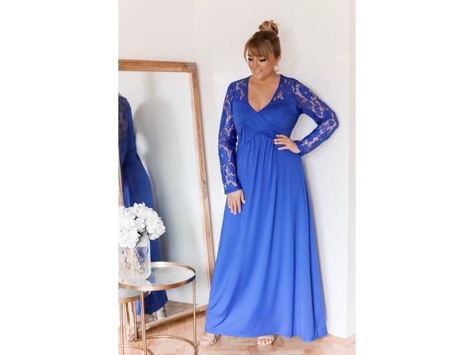 Dlhé modré šaty s čipkovanými rukávmi