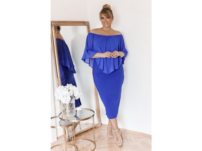 Modré koktejlové midi šaty