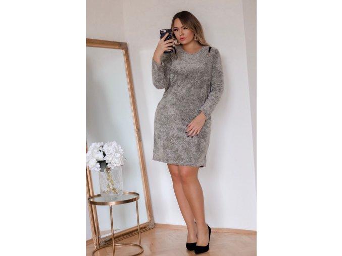 Sivé šaty so zipsami na ramenách