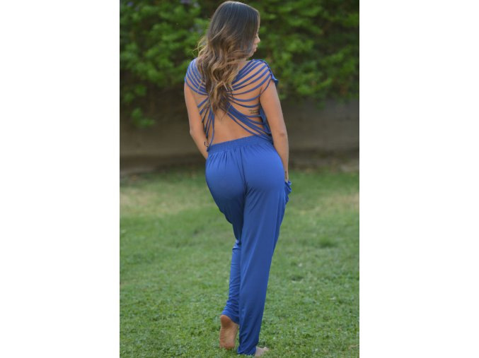 Blue Sexy Women Draped Collar Backless Jumpsuit LC60082 1 1