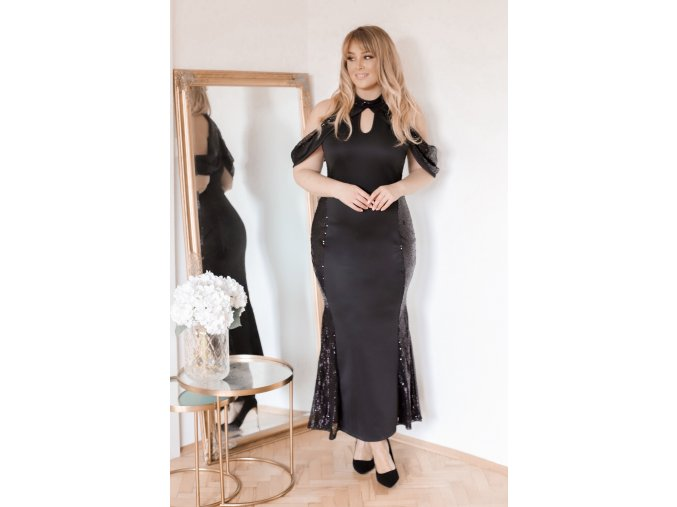 Dlhé čierne šaty s trblietkami