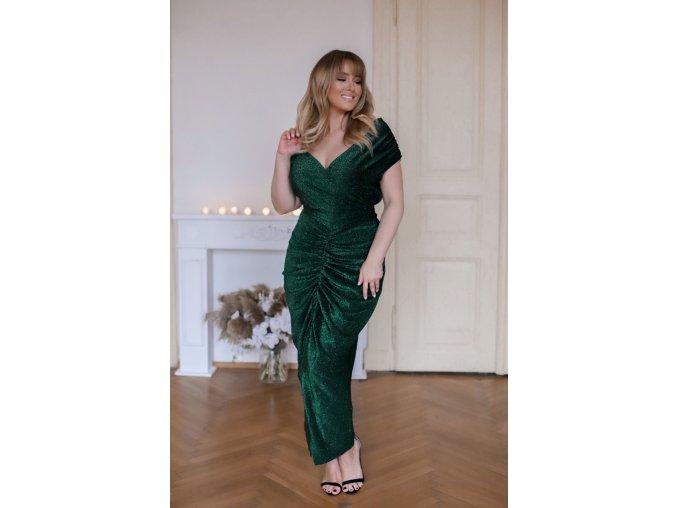 Zelené šaty s metalickým efektom a riasením