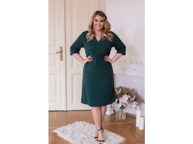 Tmavo-zelené šaty s výstrihom do V