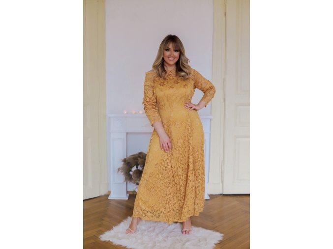 Dlhé čipkované šaty v horčicovej farbe