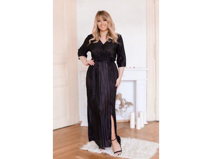 Dlhé čierne plisované šaty