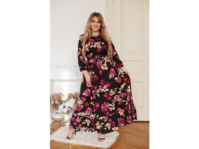 Čierne kvetinové šaty s dlhým rukávom