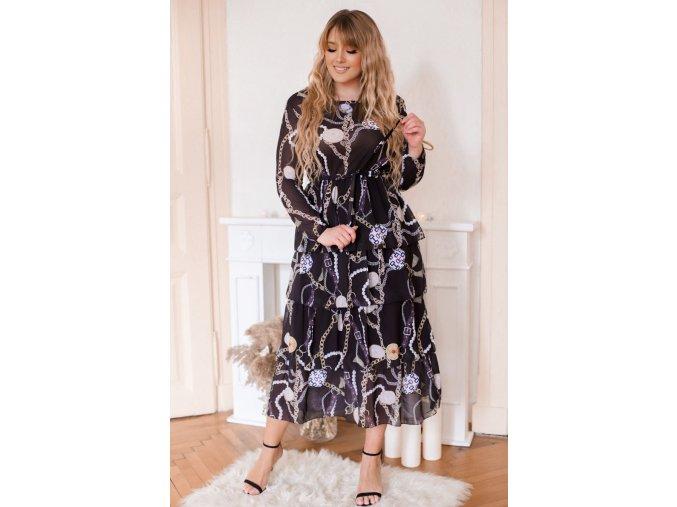 Tmavé šaty s volánmi na sukni