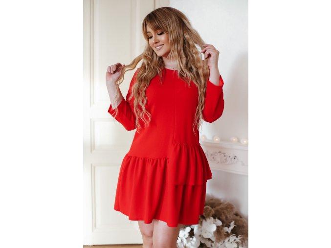 Červené krátke šaty s riasením
