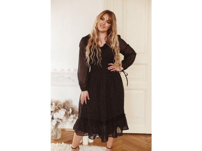 Čierne bodkované šaty s čipkou