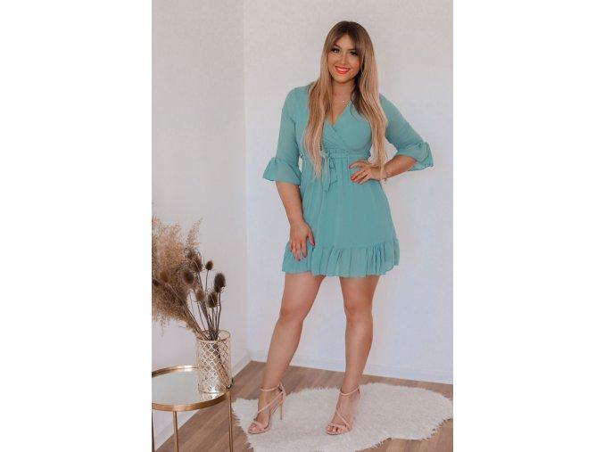 Tyrkysové šaty s opaskom