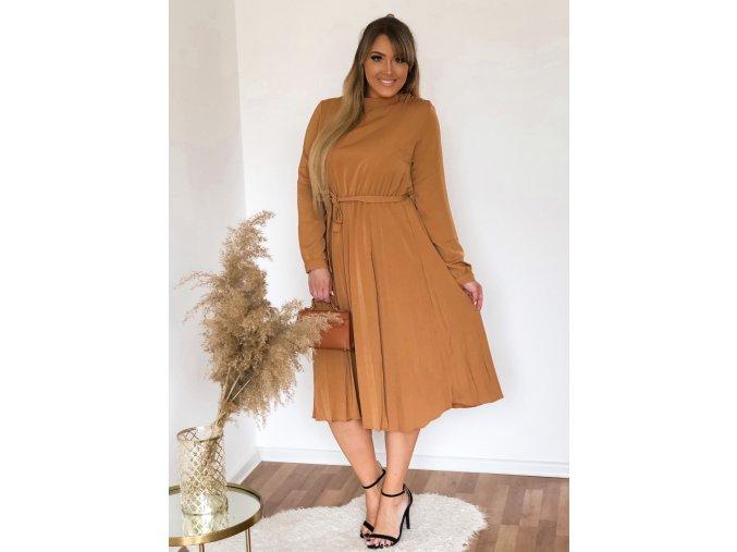 Horčicovo-hnedé šaty s dlhým rukávom