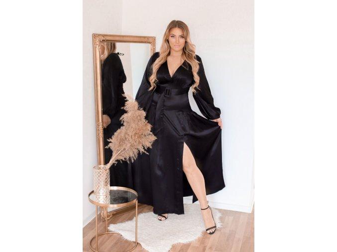 Dlhé čierne saténové šaty s rázporkom