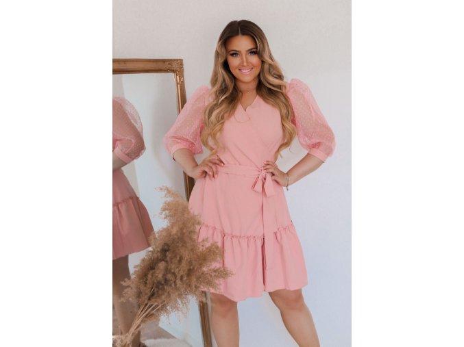 Ružové zavinovacie šaty s puffovými rukávmi