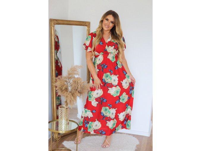 Dlhé červené šaty s potlačou ruží
