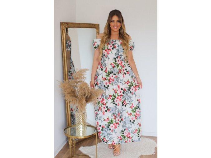 Dlhé kvetinové šaty so spustenými ramenami - biela