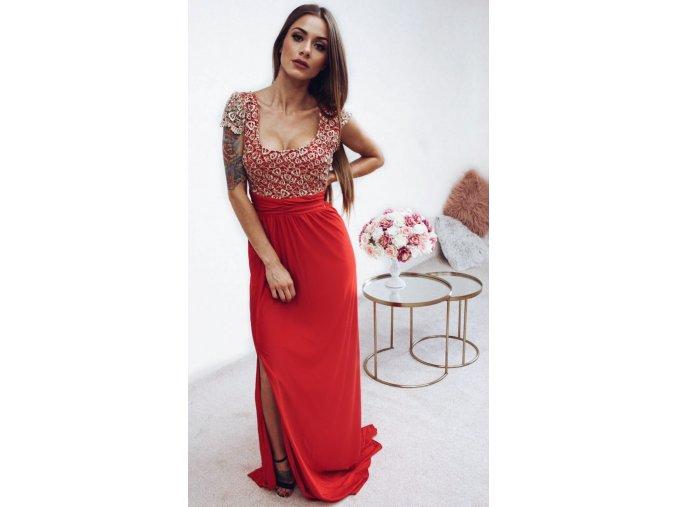 Dlhé spoločenské šaty s červenou sukňou