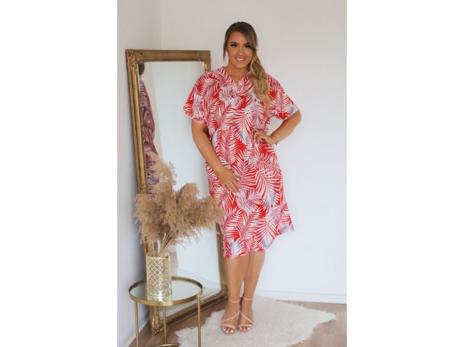 Košeľové šaty so vzorom palmových listov - červená