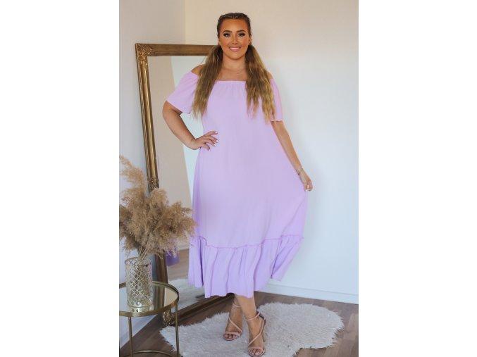 Dlhé voľné svetlo-fialové šaty s odhalenými ramenami