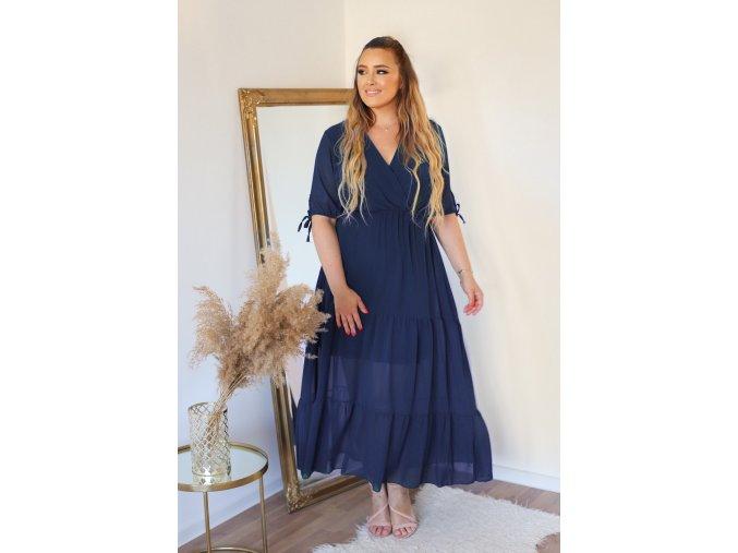 Dlhé šaty s krátkym rukávom v tmavo-modrej