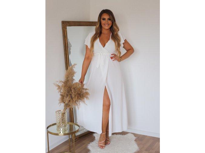 Dlhé šaty s krátkym rukávom a rázporkom v bielej