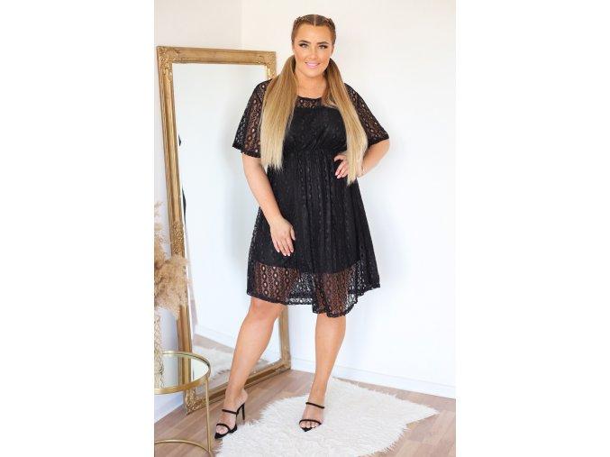 Čierne čipkované šaty s krátkym rukávom