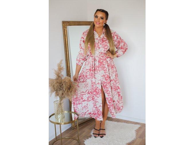 Košeľové šaty v midi dĺžke - bielo-ružová