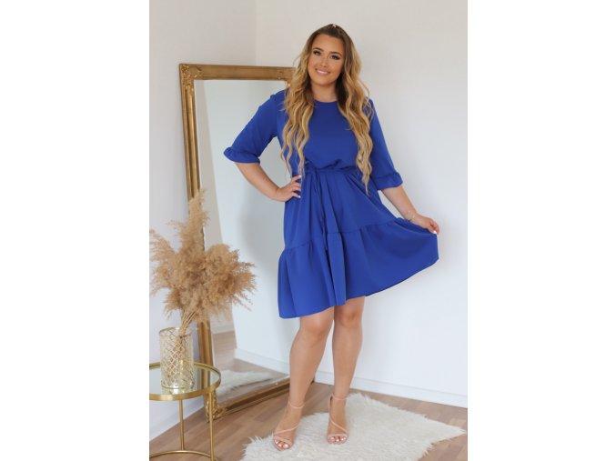 Krátke šaty s prešívanou sukňou a opaskom - modrá