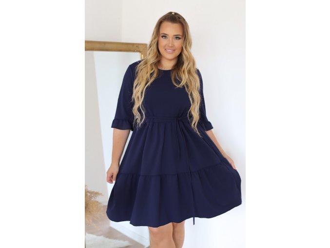 Krátke šaty s prešívanou sukňou a opaskom - tmavo-modrá