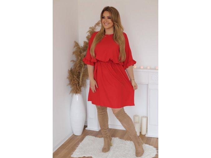 Krátke šaty s gumičkou v páse - červená