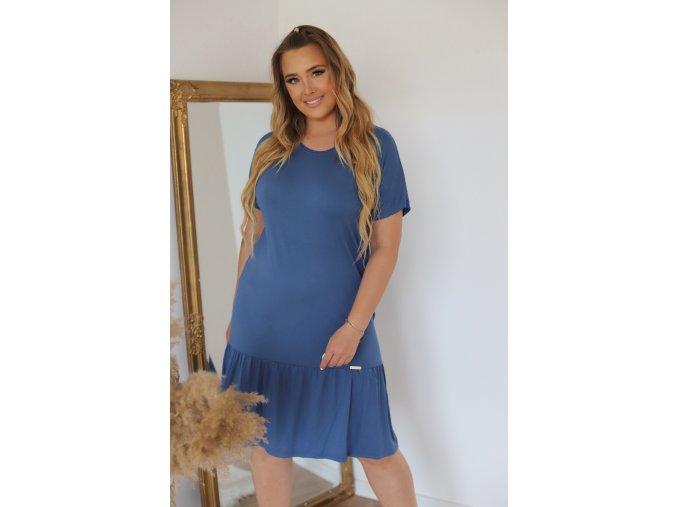 Ležérne tričkové šaty v modro-sivej