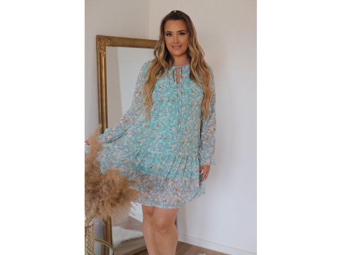 Krátke kvetinové šaty s dlhým rukávom - tyrkysovo-zelená