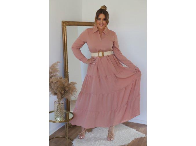 Dlhé svetlo-ružové šaty s opaskom