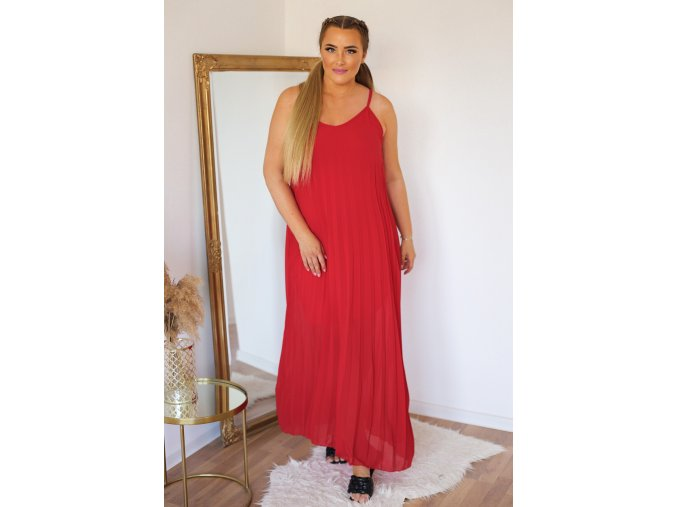 Plisované šaty na ramienka - červená