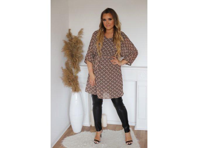Hnedé vzorované krátke šaty s opaskom