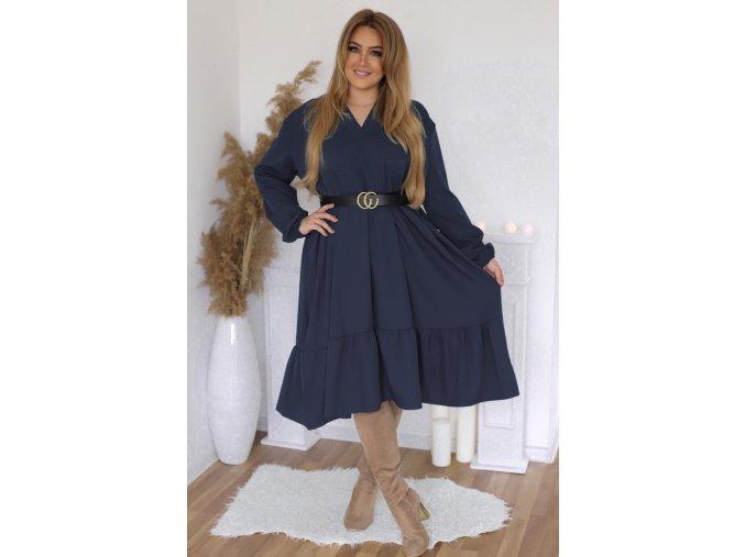 Tmavo-modré oversize šaty s dlhým rukávom
