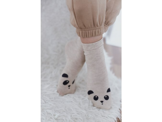Béžové ponožky s pandou